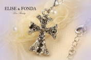 R01 Adorable Crystal Cross Charm Pendant Necklace Clasp 43cm