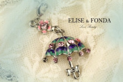 R16 Cute Crystal Rainy Umbrella Charm Pendant Necklace Clasp 43cm