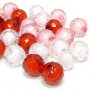 Fiona Acrylic Faceted Round Shape Transparent Beads, 12mm, Valentine
