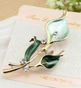 Crystal Lovely Bling Green Flower Brooch Pin