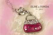 R11 Cute Hot Pink Crystal Handbag Charm Pendant Necklace Clasp 43cm