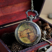 2013 New Arrival Antique Flower Back and Map Shape Pocket Watch