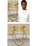 Fashion Gold Plated Metal Blouse Collar Brooch Tip Neck Chain /Shirt collar brooch----(With Cutely Gift Box)---Awesome gift for Holidays--. From USA--takes 2-6 working days with shelley.kz INC-------1pc only