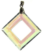 Bead Collection 41296 Glass Crystal Square with Bail in Corner Pendant, 30mm