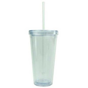 BPA-Free 590mls Acrylic Tumbler with Straw, Double Wall, Clear