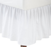 """Fresh Ideas Bedding Ruffled Bed Skirt, Classic 14"""" drop length, Gathered Styling, King, White"""