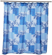 Carnation Home Fashions Laura Fabric Shower Curtain, Blue
