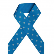 1 1/2 Inch 38mm Printed Grosgrain Ribbon, White Polka Dot on Turquoise,100 Yards on Spool