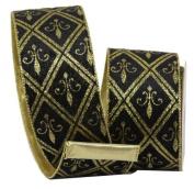 Renaissance 2000 Ribbon, 10cm , Black Velvet with Gold Glitter Fleur De Lies