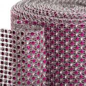 Koyal 2-Tone Diamond Rhinestone Ribbon Wrap, Fuchsia