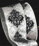 Decorative Damask-Style Silver Grey and Black Wired Craft Ribbon 6.4cm x 20 Yards