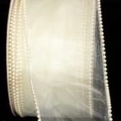 Designer Creamy Ivory Wired Pearl Edge Sheer Craft Ribbon 7.6cm x 20 Yards
