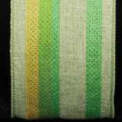 Colourful Striped Surprise Green Wired Burlap Craft Ribbon 6.4cm x 20 Yards