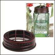 Mason Jar Flower Frog Lid Crackle Black/Red