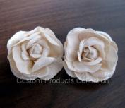 Ivory Rose Wedding Birde Hair Flower Clip Barrette- One Pair