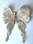 Silver Glittered Butterfly Clip