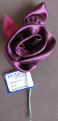 Modern Romance SINGLE Satiny FABRIC ROSE Approx. 5.1cm - 0.6cm Diameter FLOWER Colour WINE w Satiny & Fabric LEAFS & WIRE STEM