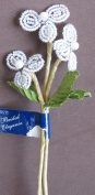 Bridal Elegance PACK of 3 GLASS BEAD FLOWERS w Faux PEARL (Centre) & FABRIC LEAF on WIRE STEM