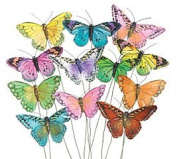 Set of 12 Feather Butterflies on Picks Floral Supplies