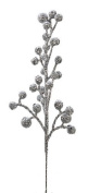 Package of 24 Glittery Silver Artificial Berry Picks for Holiday Decorations or Floral Arranging