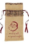 Burlap Santa Stencil Wine Bag with Fabric Ruffles 33cm x 17cm