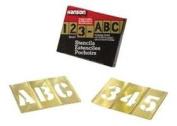 Brass Stencil Letter & Number Sets - 2.5cm - 1.3cm 45 piece stencilset gothic styl