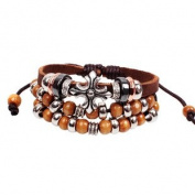 Beautiful Bohemian Vintage Style Brown Bead Leather Bracelet Wirstband Cool .