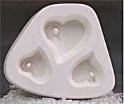 Holey Heart Trio Jewellery Casting Mould for Glass Fusing