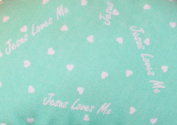 Mint Green Jesus Loves Me 100% Cotton Flannel Baby Fabric By the Yard Made in USA Christian