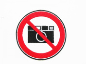 No Cameras Pictures Photos Sign Symbol Warning Applique Iron-on Patch