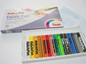 """pentel arts """" fabric fun """" pastel dye sticks 15 colours"""