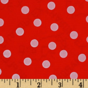 Oil Cloth Polka Dot Red/White Fabric