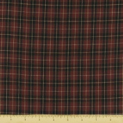 Textile Creations 1010 Rustic Woven Fabric, Small Plaid Wine And Black, 15 yd.