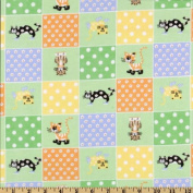 110cm Wide Comfy Flannel Cat Shoes Green Fabric By The Yard