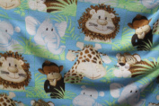 Baby Animals Fleece Fabric Colour Aqua, Sold By the Yard 150cm Wide