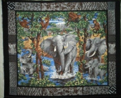 Elephant School Wall Hanging by General Fabrics - 100% Cotton, Panel
