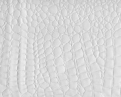 SHINY WHITE PATENT FAUX LEATHER FABRIC EMBOSSED CROCODILE