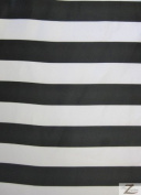 Striped Bridal Satin Fabric - Black/White 2.5cm Stripes - 150cm /150cm Width Sold By The Yard