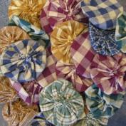 25 Assorted Homespun Fabric Yoyo Flowers - 5.1cm wide