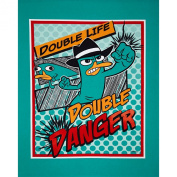 Disney Phineas and Ferb Agent P Comic Panel Turquoise Fabric