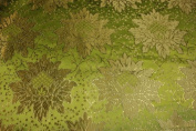 Lime Green Jacquard Brocade Fabric with a Nice Flower Design