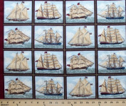 Ancient Mariners Picture Frames Ship Ships Ocean Sea Cotton Fabric Print