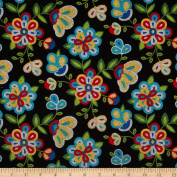 Tucson Beaded Floral Black Fabric
