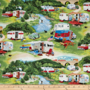 Vintage Trailers Camp Trailer Green Fabric