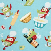 blue Owl Chefs animal fabric from the USA
