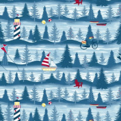 Cotton Weekend Retreat Vacation Lakeshore View Cotton Fabric Print by the Yard