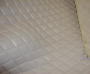 White Faux Leather Quilted Vinyl Fabric with 1cm Foam Backing Upholstery