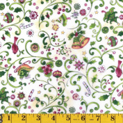 Clothworks Cream Peppermint Lane , From the Peppermint Lane Collection, Christmas, 110cm Wide, By the Yard