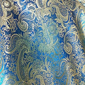 Turquoise/gold Paisley Metallic Brocade 110cm Per Yard