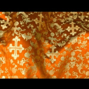 Orange/gold Metallic Church Brocade 110cm Per Yard